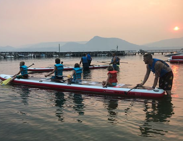 source Sunnsup on IG. photo of paddle boarders during 2018 smoky season. Used for a story about how wildfire affected British Columbians.